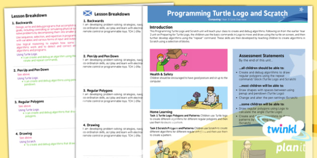 PlanIt - Computing Year 3 - Programming Turtle Logo and Scratch Planning Overview CfE - planit