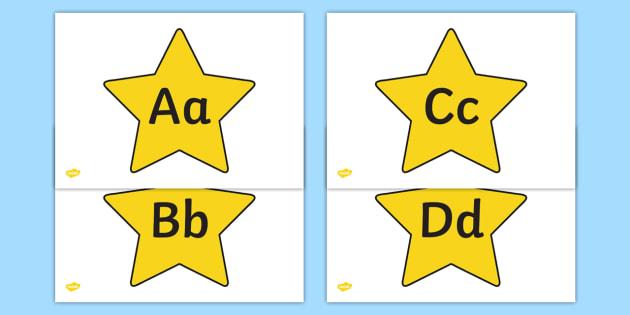 A Z Alphabet On Stars - a-z, alphabet, alphabet display, display