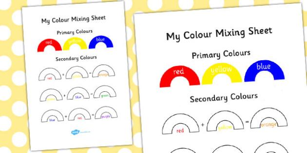Colour Mixing Activity Sheet - colour, mixing, activity, sheet, worksheet