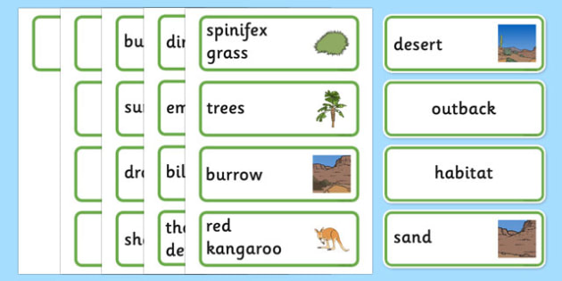 Australian Desert Habitat Word Cards - Science, Year 1, Habitats, Australian Curriculum, Desert, Outback, Living, Living Adventure, Good to Grow, Ready Set Grow, Life on Earth, Environment, Living Things, Animals, Plants, Word Cards