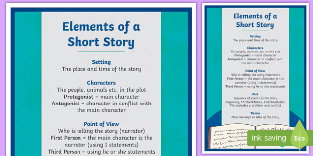 Elements of a Short Story A4 Display Poster