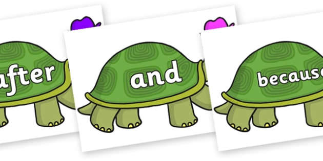 Connectives on Tortoise - Connectives, VCOP, connective resources, connectives display words, connective displays