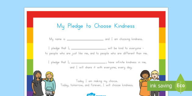 My Pledge to Choose Kindness Activity Sheet - Choose kindness, kindness, relationships, friendship, pledge, worksheet