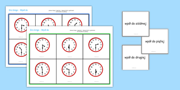 Gra Bingo Wpół do po polsku - czas, godzina, matematyka, zegar
