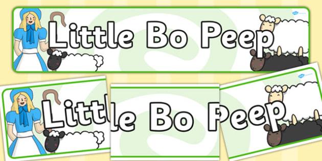 Little Bo Peep Display Banner - Little Bo Peep, nursery rhyme, banner, rhyme, rhyming, nursery rhyme story, nursery rhymes, Little Bo Peep resources, sheep