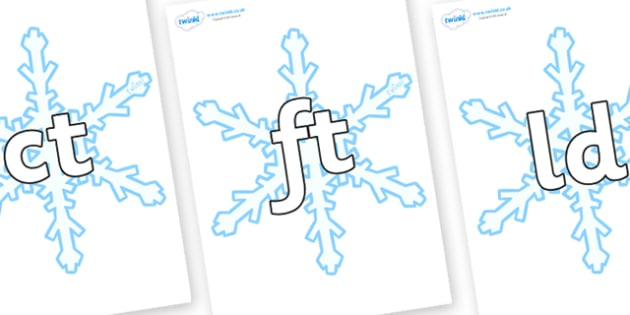 Final Letter Blends on Snowflake - Final Letters, final letter, letter blend, letter blends, consonant, consonants, digraph, trigraph, literacy, alphabet, letters, foundation stage literacy