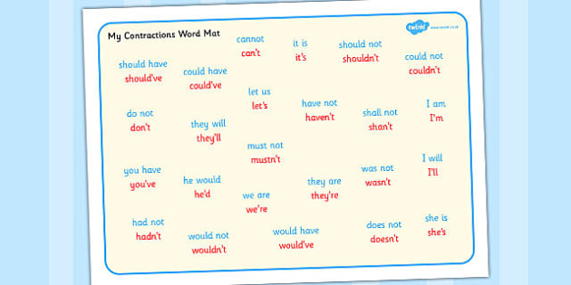 Contractions Word Mat - contractions, word, mat, word mat, words
