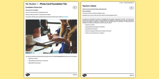 Mis estudios 1 Tarjeta con foto Foundation Tier - spanish, studies, estudios, school, speaking, foundation, photo-card