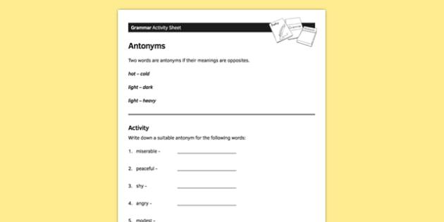 KS3 English Curriculum Antonyms Activity Sheet - ks3, english, curriculum, activity sheet, antonyms, grammar, worksheet