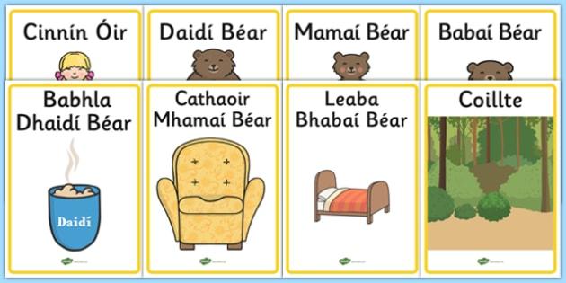Cinnín Óir agus Na Trí Bhéar - Goldilocks and the Three Bears Irish Gaeilge Display Posters - display, posters, goldilocks, cinnin óir agus na trí bhéar, irish display, gaeilge