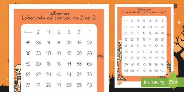 Halloween Ficha de laberinto de contar de 2 en 2