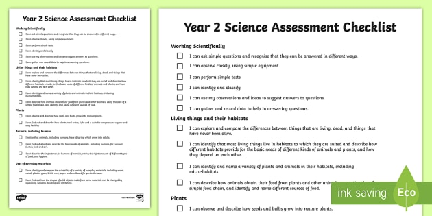 2014 Curriculum Year 2 Science Assessment Individual Checklist