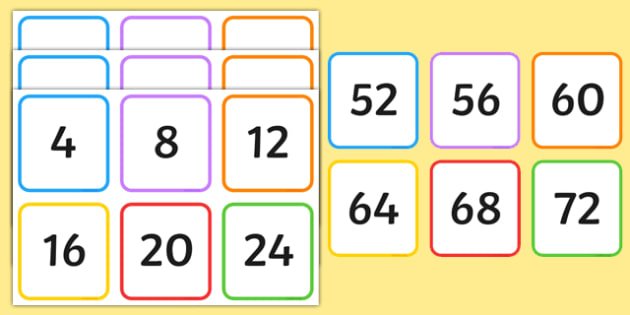Multiples of 4 on Square Number Cards - multiples, 4, square, number, cards
