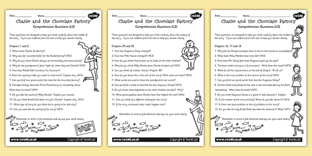 Differentiated Questions Pack to Support Teaching on Charlie and the Chocolate Factory
