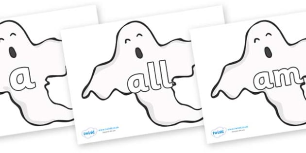 Foundation Stage 2 Keywords on Ghosts (Plain) - FS2, CLL, keywords, Communication language and literacy,  Display, Key words, high frequency words, foundation stage literacy, DfES Letters and Sounds, Letters and Sounds, spelling