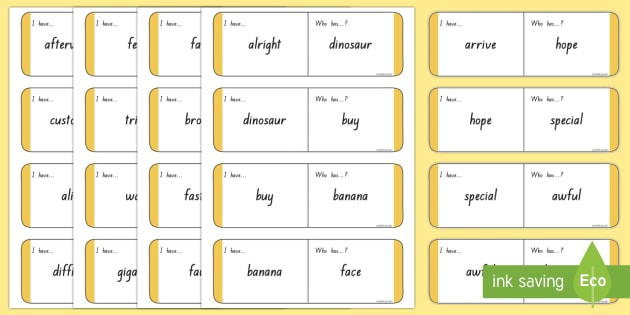 Sight Words -  Gold Loop Cards