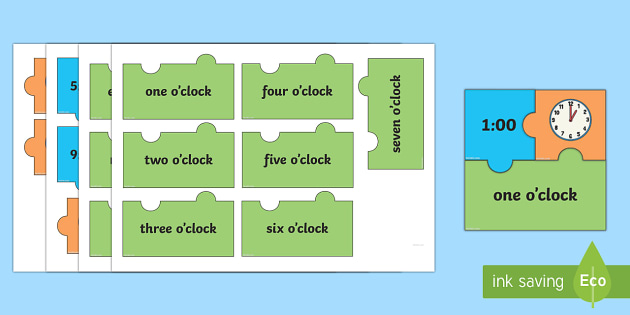 O'Clock Times Jigsaw Puzzle Activity - Measurement, measures, telling the time, o'clock times, to the hour, o'clock, clock.