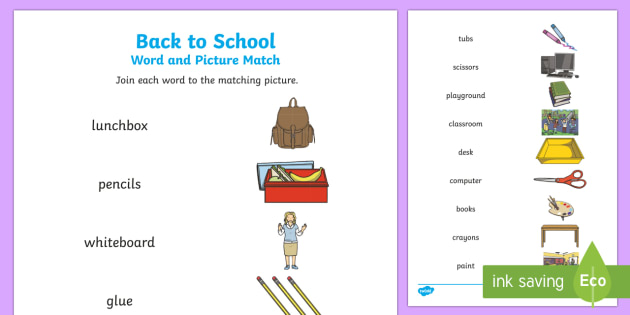 Back to School Word and Picture Matching Activity Sheet-Australia