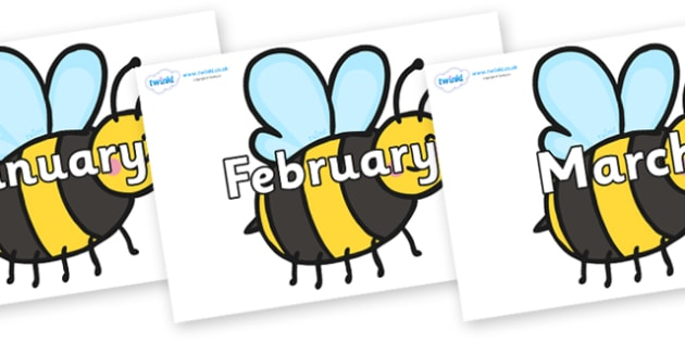 Months of the Year on Bees - Months of the Year, Months poster, Months display, display, poster, frieze, Months, month, January, February, March, April, May, June, July, August, September