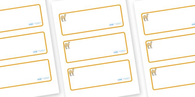 Camel Themed Editable Drawer-Peg-Name Labels (Blank) - Themed Classroom Label Templates, Resource Labels, Name Labels, Editable Labels, Drawer Labels, Coat Peg Labels, Peg Label, KS1 Labels, Foundation Labels, Foundation Stage Labels, Teaching Labels