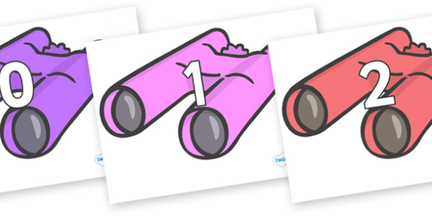 Numbers 0-31 on Binoculars - 0-31, foundation stage numeracy, Number recognition, Number flashcards, counting, number frieze, Display numbers, number posters