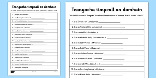 Teangacha timpeall an domhain - Irish, gaeilge, languages, close, reading, writing, worksheet