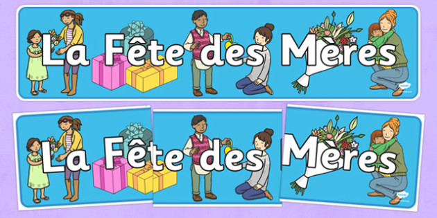 Mothers Day Display Banner French -  EAL, translated, mum, family