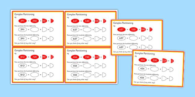 Complex Partitioning Challenge Cards - complex partitioning, challenge, cards