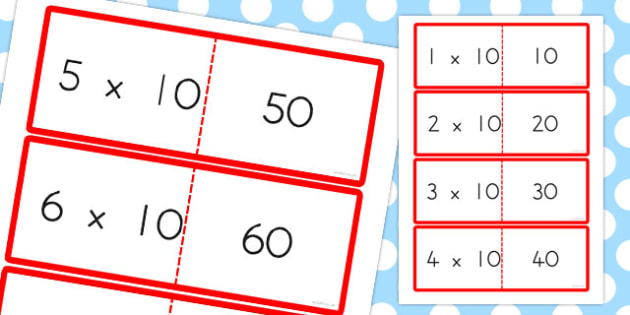 10 Times Table Cards - australia, times table, times tables, cards, 10, times