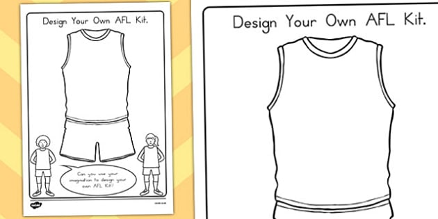 Design Your Own Afl Kit Activity Australia Sport Design Afl Colouring In Pages