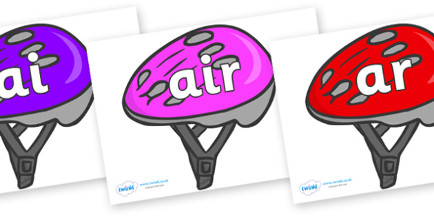 Phase 3 Phonemes on Bike Helmets (Multicolour) - Phonemes, phoneme, Phase 3, Phase three, Foundation, Literacy, Letters and Sounds, DfES, display