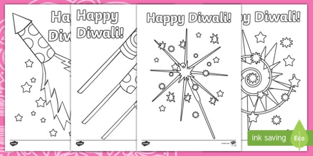 Diwali Fireworks Colouring Page