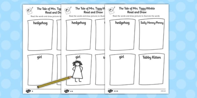 The Tale of Mrs Tiggy Winkle Read and Draw Worksheet - mrs tiggy winkle