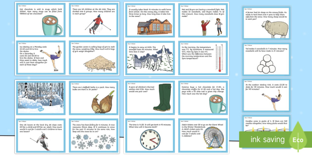 Year 3 Winter Themed Challenge Cards - Winter 2016/17, year 3 maths, year 3 maths challenges, independent maths, winter maths, combined mat