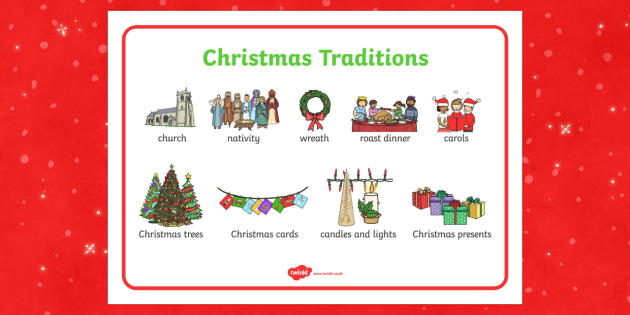 Christmas Traditions Word Mat - christmas, traditions, word mat