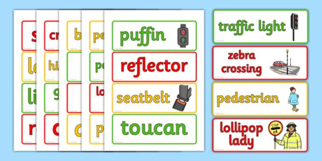 Road Safety Word Cards - Road, Safety, Word, Cards, Safe, Words
