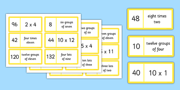 Maths Times Tables Loop Cards Up to 12x12 - maths, times table, times tables, loop cards