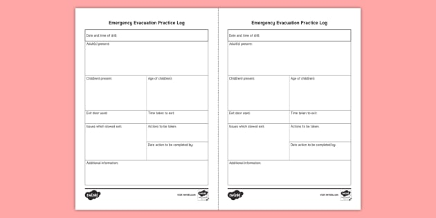 Emergency Evacuation Practice Log - fire, incident, emergency, admin, child safety, paperwork, childminders, preschool