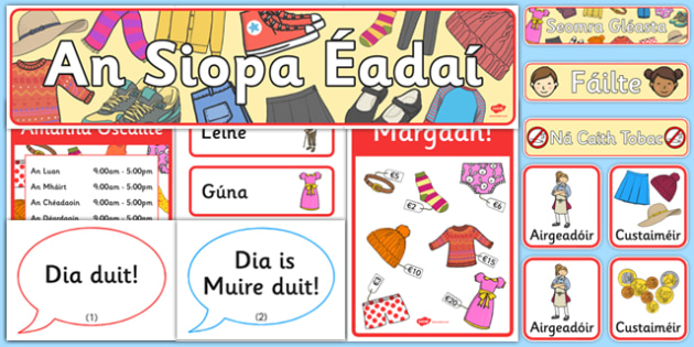 An Siopa Éadaí Ról Imirt Clothes Shop Role Play Pack Gaeilge - clothes, role play, shop, resource pack
