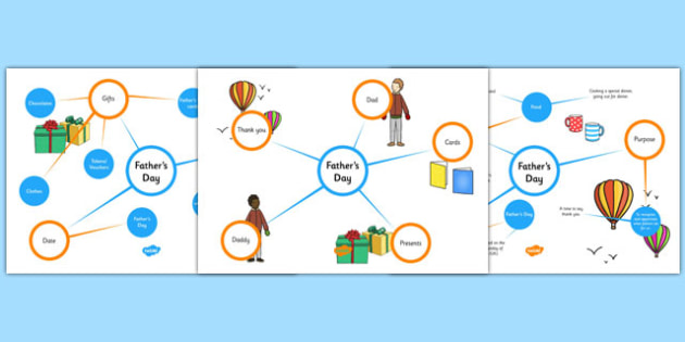 Father's Day Differentiated Concept Maps - concept map, mind map, fathers day, fathers day concept map