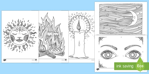 Light and Dark Themed Mindfulness Colouring Pages