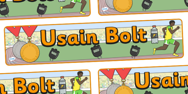 Usain Bolt Display Banner - Usain Bolt, Sherwood Content, Jamaica, Trelawny, world record, 100 meter dash, display, banner, sign, poster, track meet, Junio World Championships, Jamaican Olympic Team, gold medal
