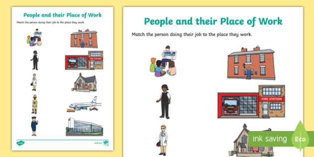 People and their Place of Work Matching Activity Sheet, worksheet