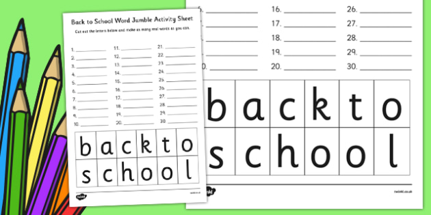 Back to School Word Jumble Activity Sheet - arabic, school, jumble, worksheet