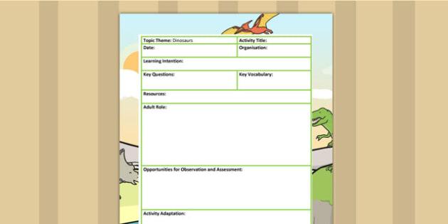 Dinosaur Themed Adult Led Focus Planning Template - dinosaurs