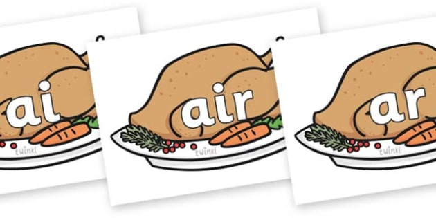 Phase 3 Phonemes on Christmas Turkeys - Phonemes, phoneme, Phase 3, Phase three, Foundation, Literacy, Letters and Sounds, DfES, display