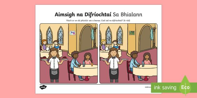 Sa Bhialann, Aimsigh na Difríochtaí Activity Sheet-Irish