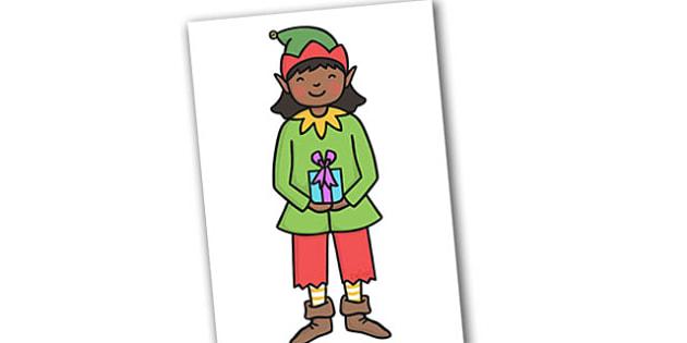 Christmas A4 Editable Girl Elf - christmas, xmas, display, display elf, display images, editable display images, editable images, elf, girl elf, editable elf, display pictures, editable pictures