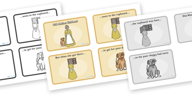 Old Mother Hubbard Sequencing (4 per A4) - Old Mother Hubbard, nursery rhyme, sequencing, rhyme, rhyming, nursery rhyme story, nursery rhymes, Old Mother Hubbard resources