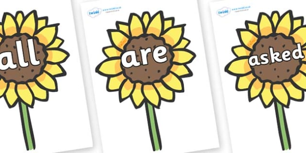 Tricky Words on Sunflowers - Tricky words, DfES Letters and Sounds, Letters and sounds, display, words